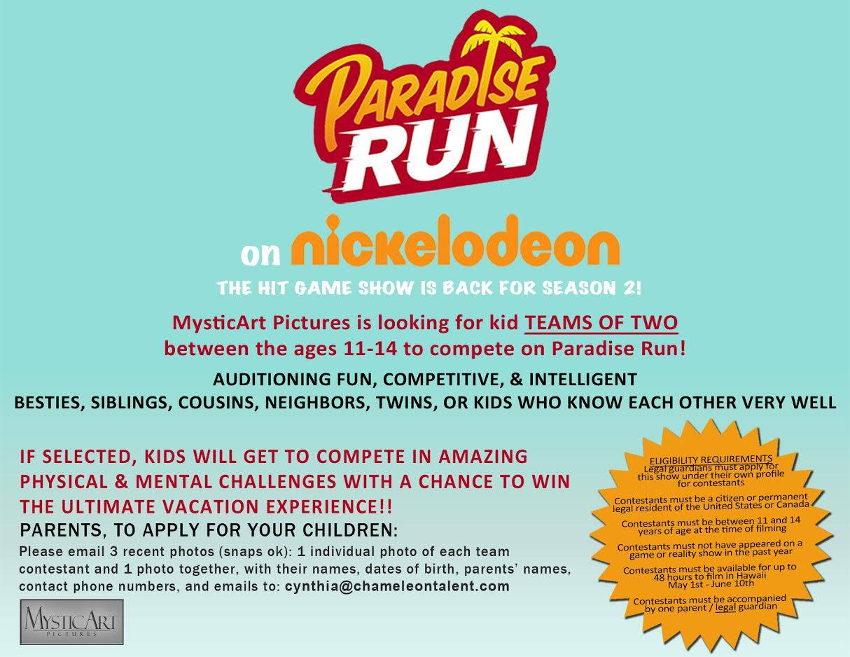Nickalive nickelodeon orders quot paradise run quot season 2 auditioning
