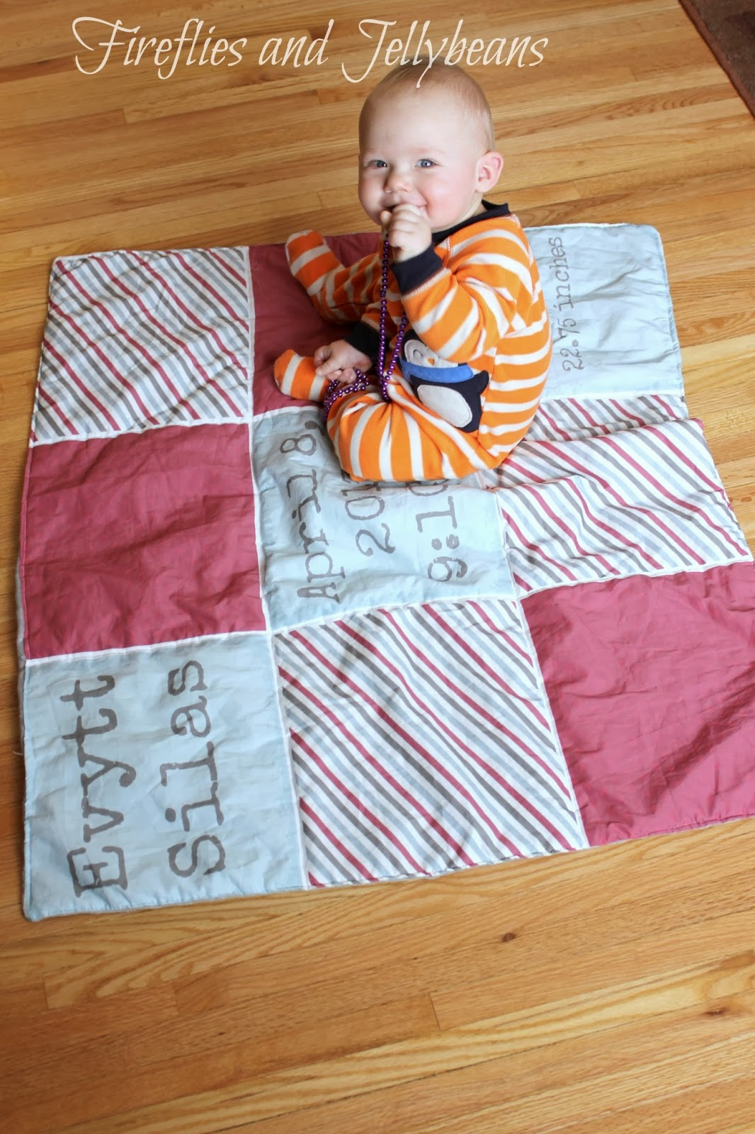 Fireflies And Jellybeans Easy Personalized Baby Blanket