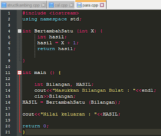 Contoh kode program parameter bahasa c++
