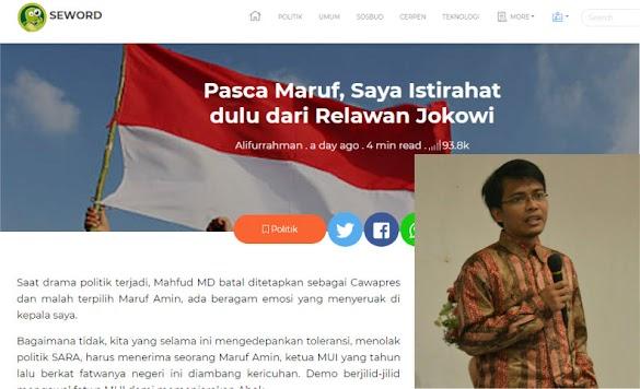 Pendiri Seword Ingin Istirahat dari Relawan Jokowi, Ustadz Tengku Lontarkan Pantun