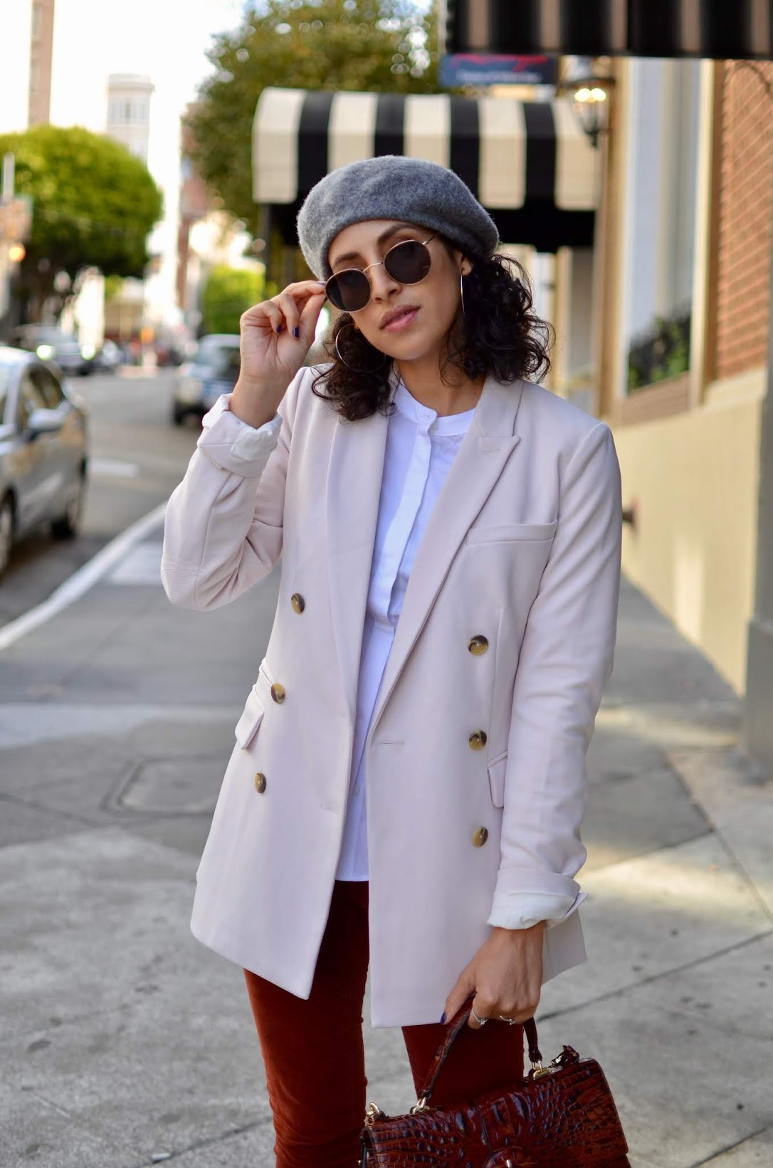 Le Marais croissanterie, pastry shop in SF, chic street style, anine bing boots, cords, fall style, beret