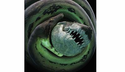 Ilustrasi pertarungan buaya dan ular kuno