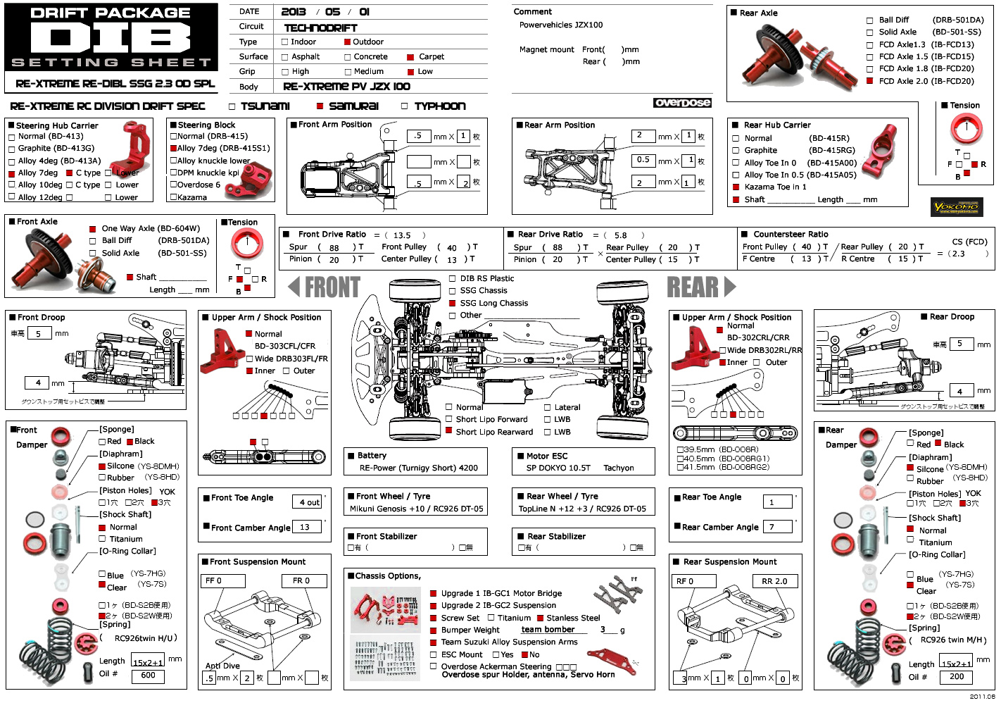 RE-Xtreme Yokomo Setting Sheets