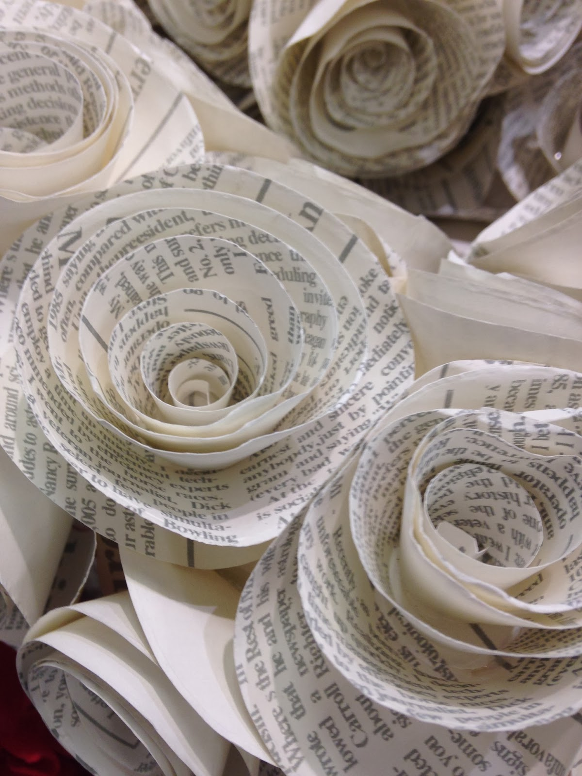 Paper heart wreath close-up
