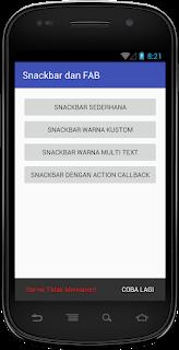 Hasil Snackbar Warna Kustom  Android