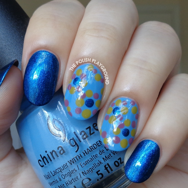 Blue with Muted Colored Dotting Circle Pattern Nail Art