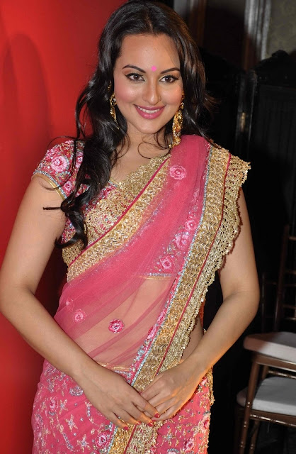 Sonakshi Sinha Long Hair Hip In Pink Designer Sari