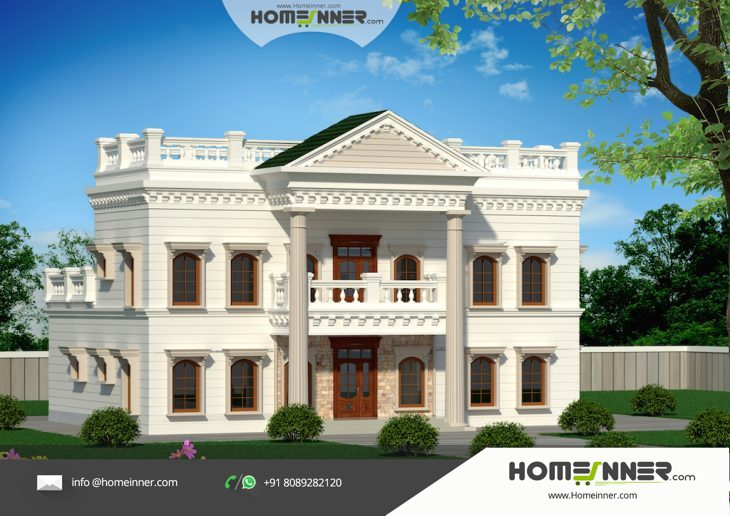 5000 sq ft 5 bedroom palladian style luxury bungalow Indian bungalow design
