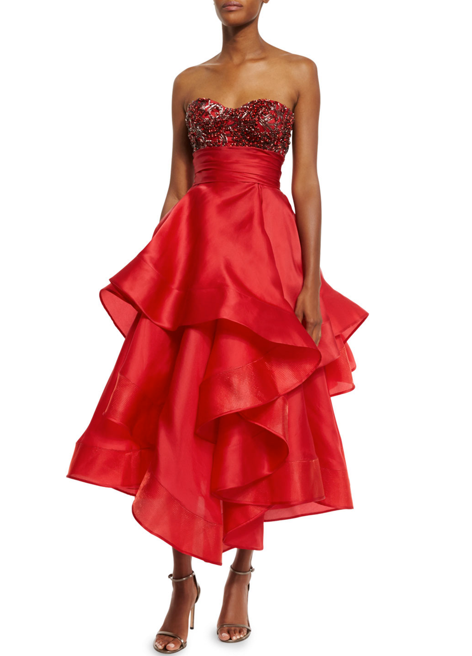 Marchesa Beaded Strapless Tea-Length Gown, Red