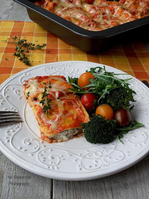 Лазаня с броколи и сирене Рикота