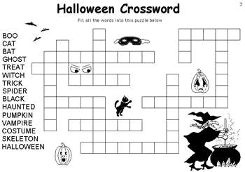 Halloween Crossword Coloring Pages