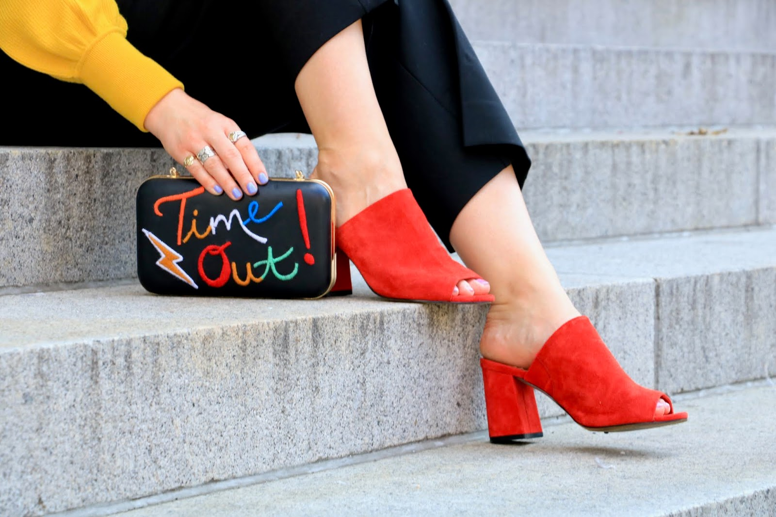 Nyc fashion blogger Kathleen Harper showing how to wear red mules