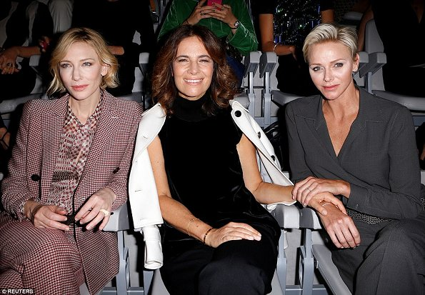 Princess Charlene of Monaco visited Giorgio Armani Fashion Shows at Milan Fashion Week