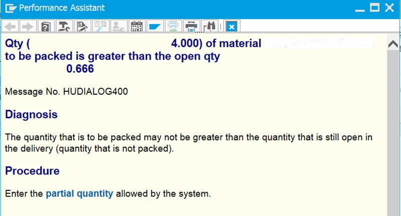 SAP Extended Warehouse Management Blog: Qty ( xxxx) of material