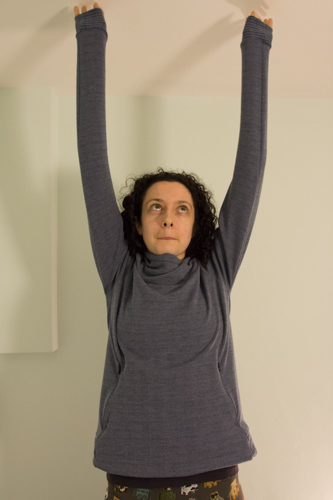 Demonstrating very long sleeves on my new top