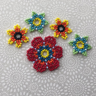 Learn bead netting - used to make mandala pendants and flowers