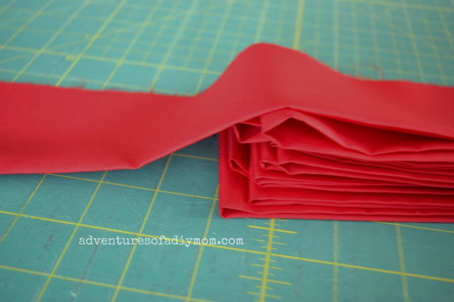 fold and iron strips in half for ruffle