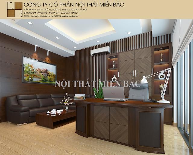 Thiết kế nội thất phòng giám đốc với chiếc bàn được làm từ chất liệu gỗ tự nhiên cao cấp, kiểu dáng mạnh mẽ tạo nên một sự hoàn hảo khi kết hợp với chiếc ghế chân xoay hiện đại