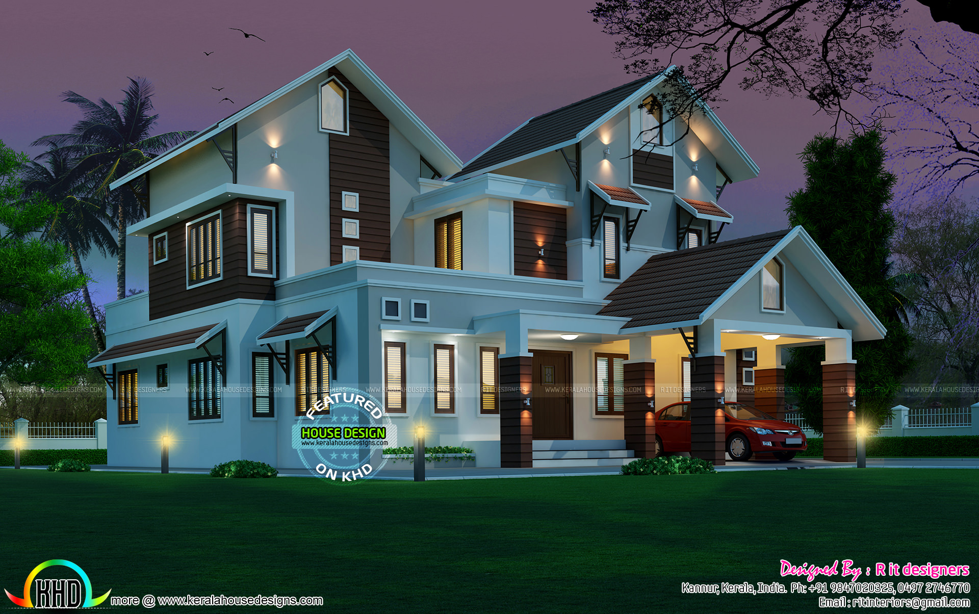 2963 sq ft beautiful sloping roof mix house kerala home for Design modern house 40