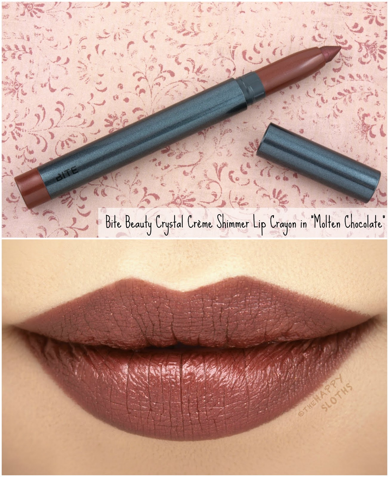 "Bite Beauty | Crystal Crème Shimmer Lip Crayon in ""Molten Chocolate"": Review and Swatches"