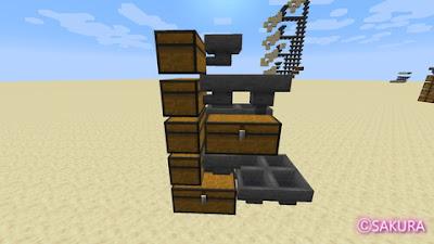 Minecraft 多段式倉庫 チェスト ホッパーの接続