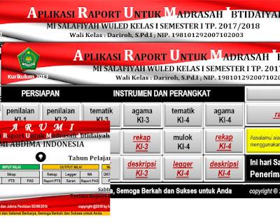 Aplikasi Raport Kurikulum 2013 MI (ARUMI) Tahun 2018 Semester 2