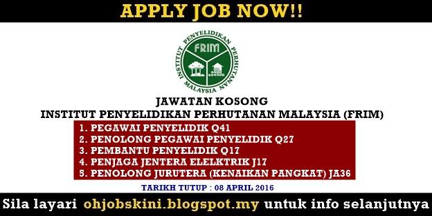 IKLAN Jawatan Kosong Institut Penyelidikan Perhutanan Malaysia (FRIM)