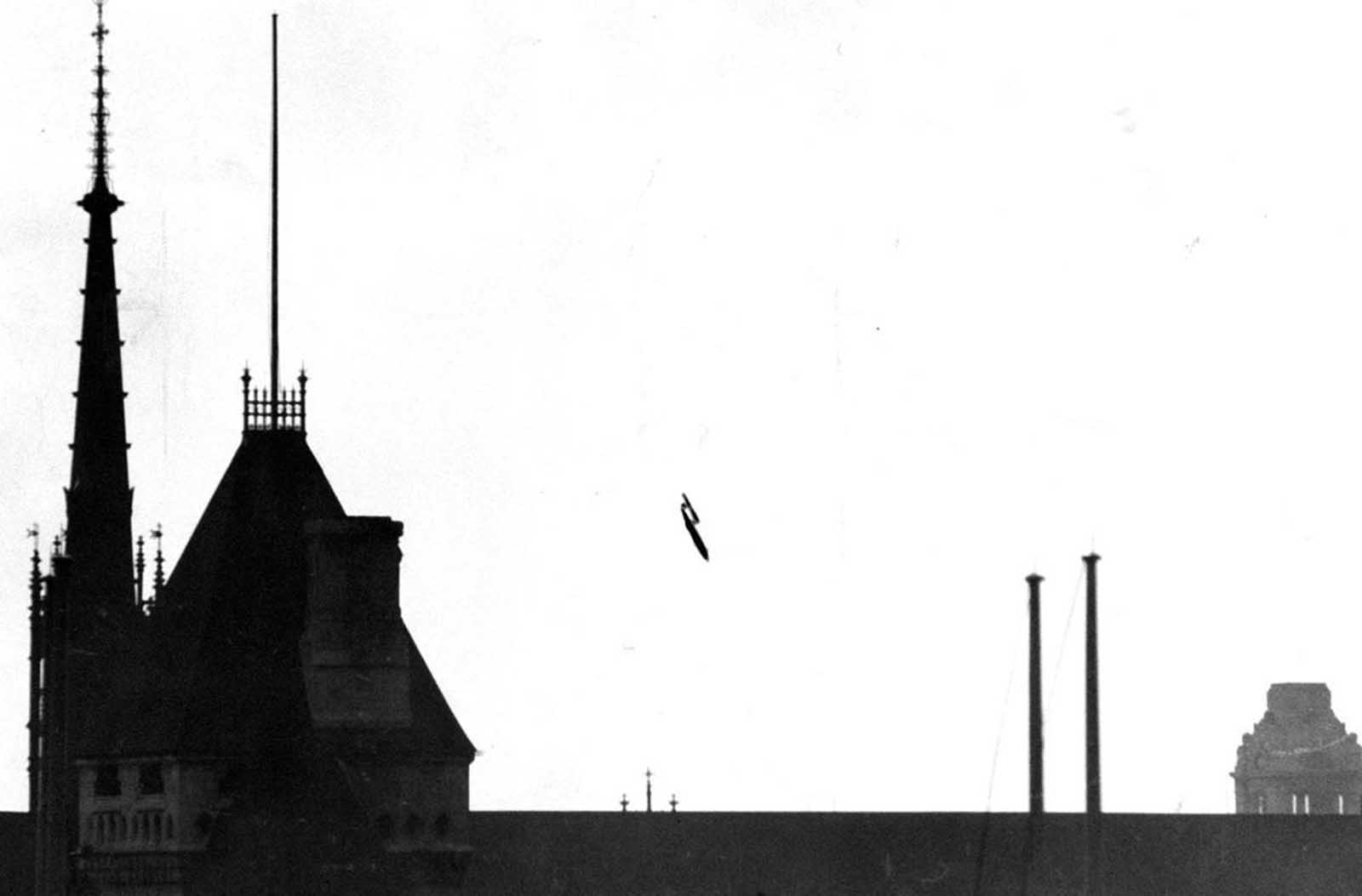 Across the Channel, Britain was being struck by continual bombardment by thousands of V-1 and V-2 bombs launched from German-controlled territory. This photo, taken from a fleet street roof-top, shows a V-1 flying bomb