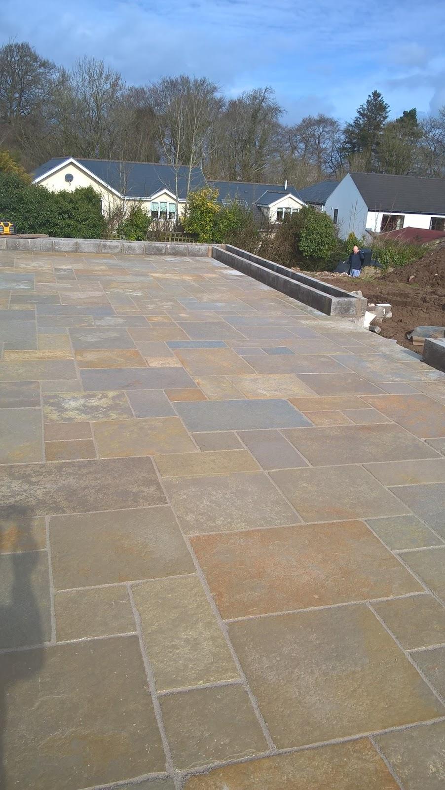 Raised Patio With Steps: CWM LLYNFI BRICKLAYING : Raised Limestone Patio With