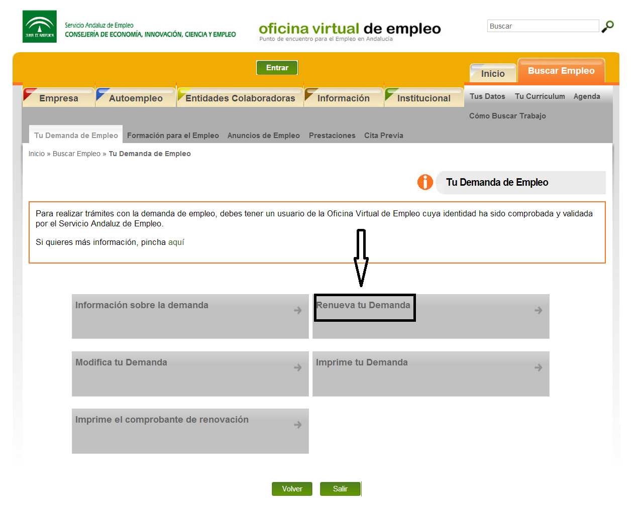 Tecnoinfe tecnolog a inform tica y educaci n pasos a for Oficina virtual empleo