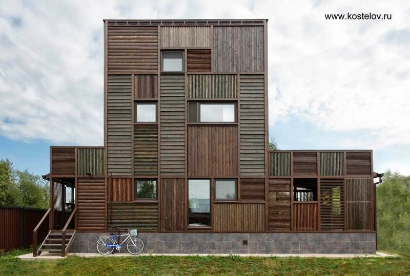 Casa residencial de madera en Rusia estilo Contemporáneo