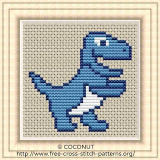 Dinosaur 8, Free and easy printable cross stitch pattern