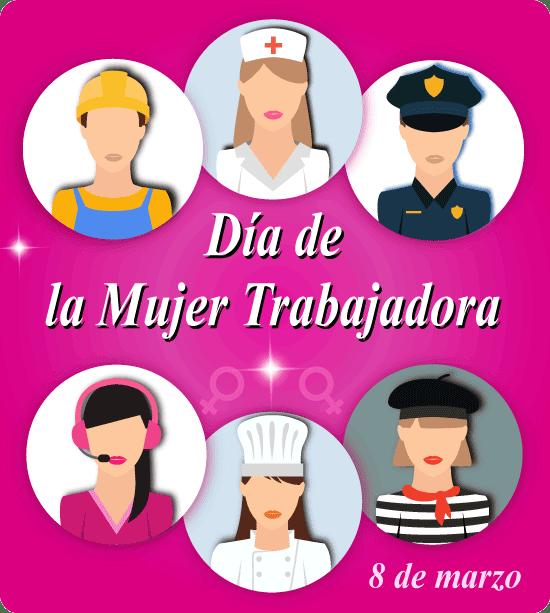 Día de la Mujer Trabajadora en iconos - vector