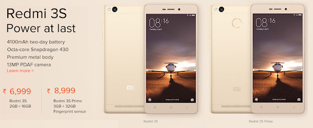 Redmi 3S & Redmi 3S Prime Sale on 17th August 2016