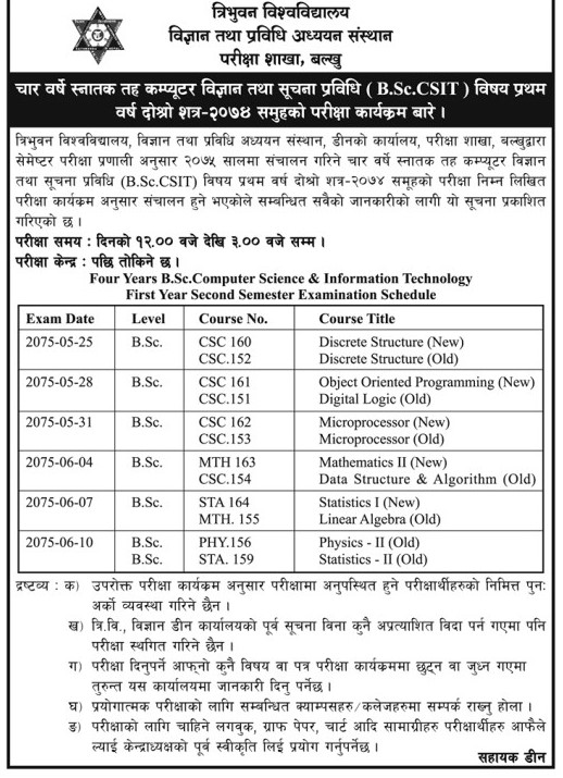 TU B.Sc. CSIT First Year Second Semester Exam Routine