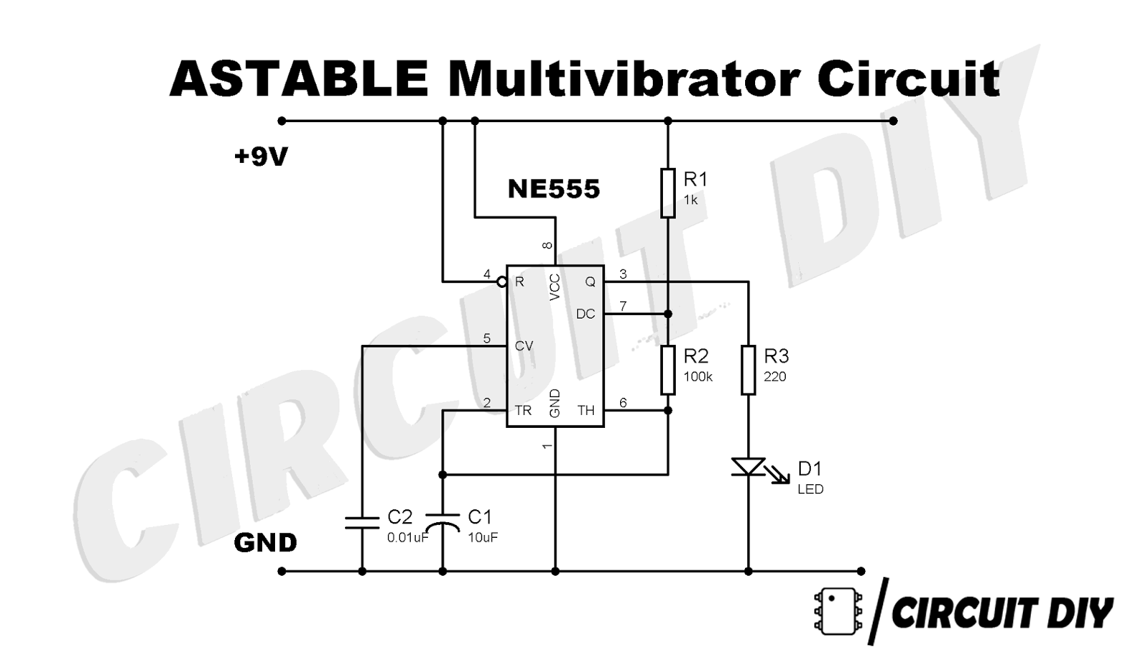 astable multivibrator using 555 timer diy step by step how to