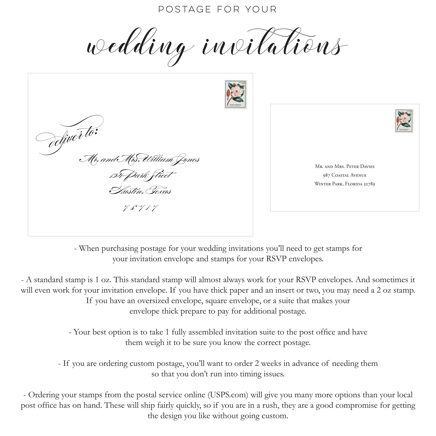 Blush Paperie: Postage for your wedding invitations