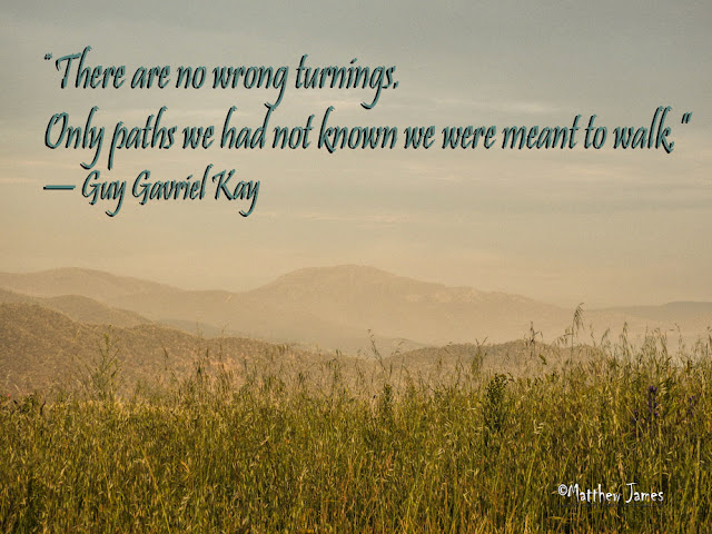 'There are no wrong turnings. Only paths we had not known we were meant to walk.' - Guy Gavriel Kay