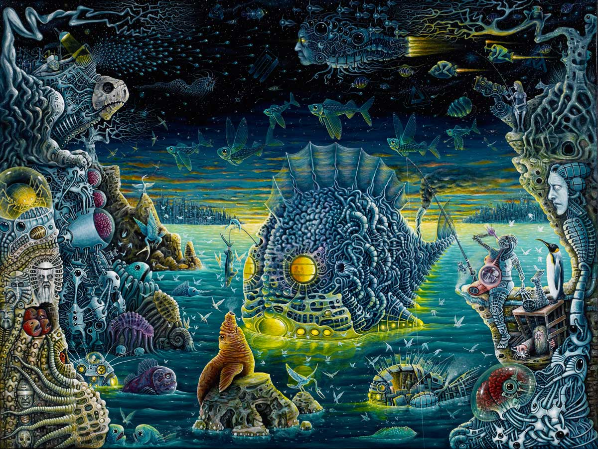 20-The-Night-Trawlers-Robert-S-Connett-Paintings-of-Colorful-Sea-Creature-Wolds-www-designstack-co