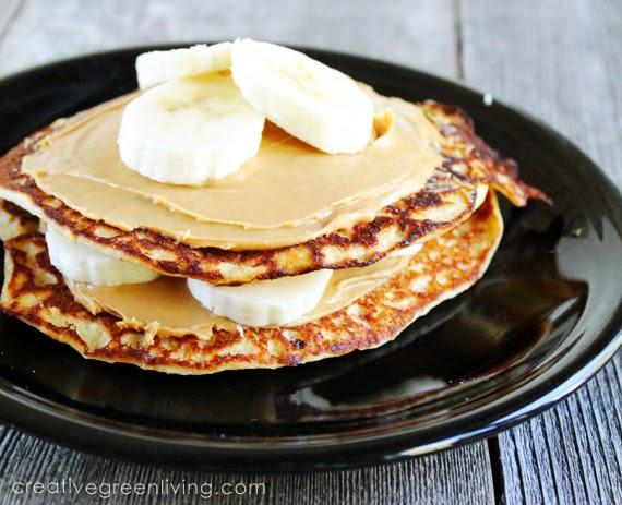 Peanut Butter Banana Protein Pancake Stack