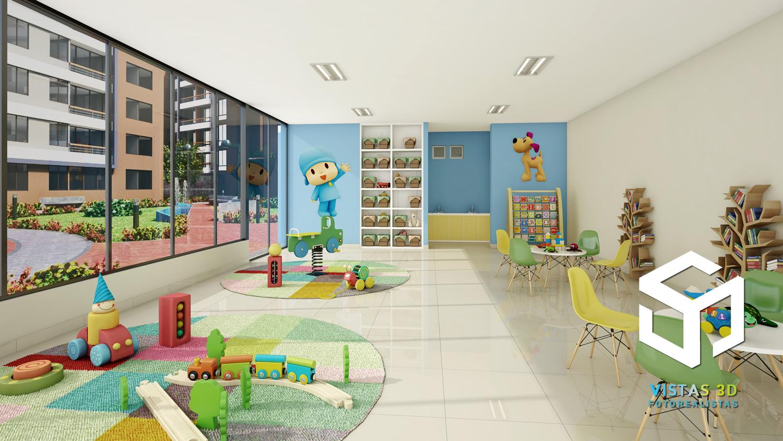 Vista 3d de sala de juegos para nios Render fotorealista con