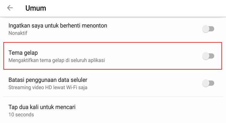 Kini youtube hadir dengan tema gelap