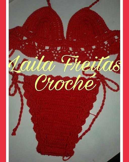 biquíni de crochê vermelho