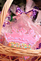 Pink Crown Cookie in plastic at a birthday party