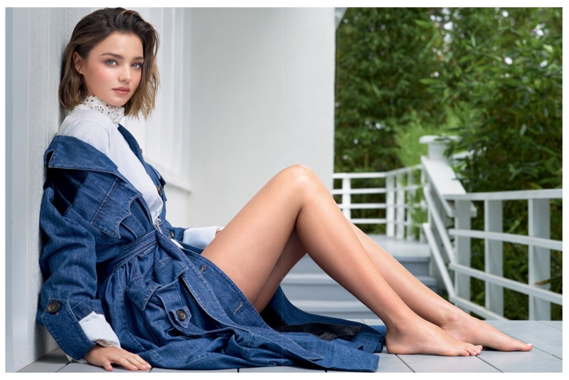 Miranda Kerr flaunts some leg in a denim jacket