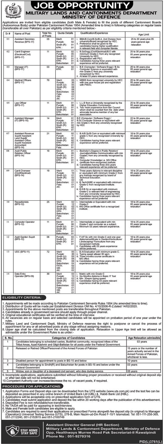 Jobs in Military Lands And Cantonments Department 14 June 2020