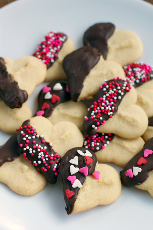 Valentine's Day Spritz Cookies || A Less Processed Life
