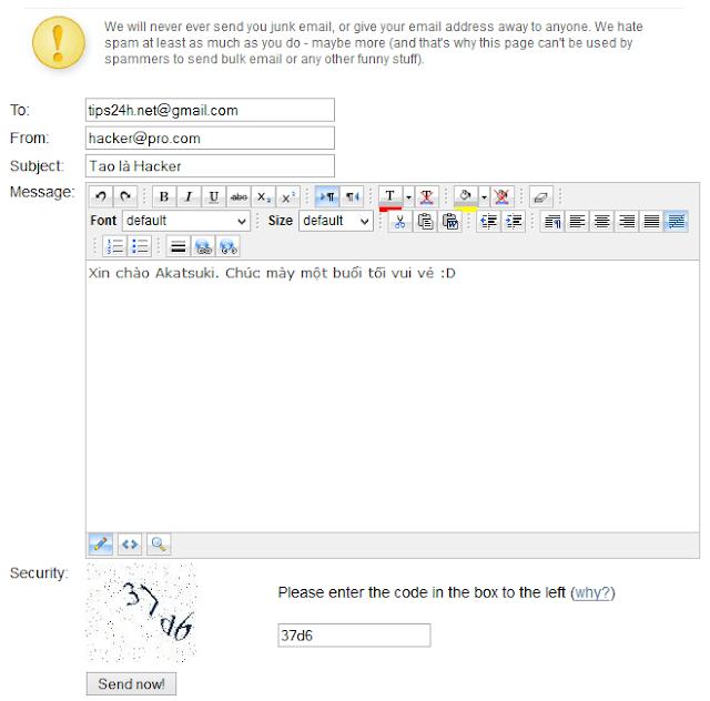 Hướng dẫn cách gửi email ẩn danh