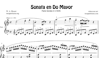 Piano Sonata Nº 16 K545 en Do Mayor de Mozart Partitura de Piano Completa
