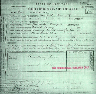 Mrs. Esther Bennett's death certificate, May 30, 1884